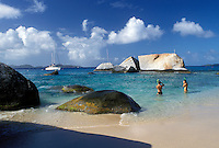 beach, Virgin Gorda, The Baths, BVI, British Virgin Islands, Caribbean, Snorkeling along the rocky coastline of Devils Bay Nat'l Park at The Baths on Virgin Gorda on the Caribbean Sea.