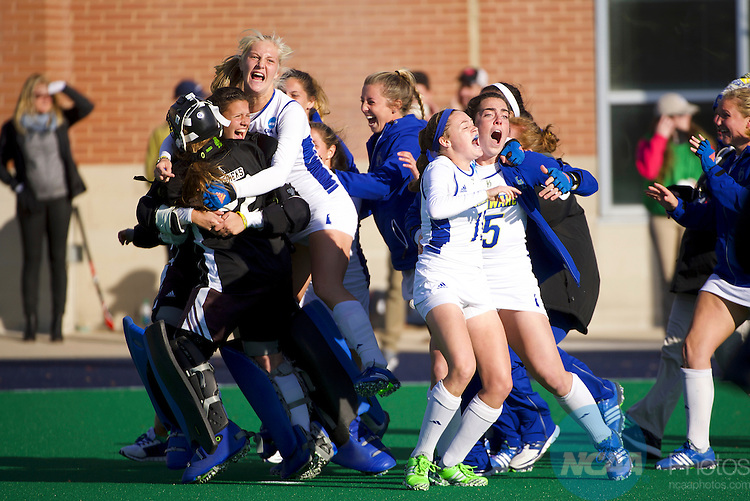 NORFOLK, VA - NOVEMBER 20:  The University of Delaware celebrates their victory over the University of North Carolina during the Division I Women's Field Hockey Championship held at the LR Hill Sports Complex on November 20, 2016 in Norfolk, Virginia.  Delaware defeated North Carolina 3-2 for the national title. (Photo by Jamie Schwaberow/NCAA Photos via Getty Images)