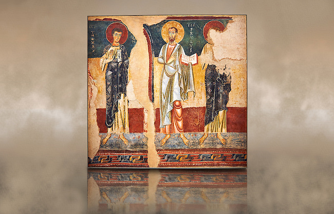 Twelfth century Romanesque fresco called the Apostles of d'Orcau from the church of Santa Maria in the castle of d'Orcau, Catalonia, Spain . National Art Museum of Catalonia, Barcelona. MNAC 4532