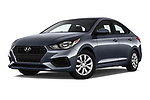 Stock pictures of low aggressive front three quarter view of a 2018 Hyundai Accent SE 4 Door Sedan