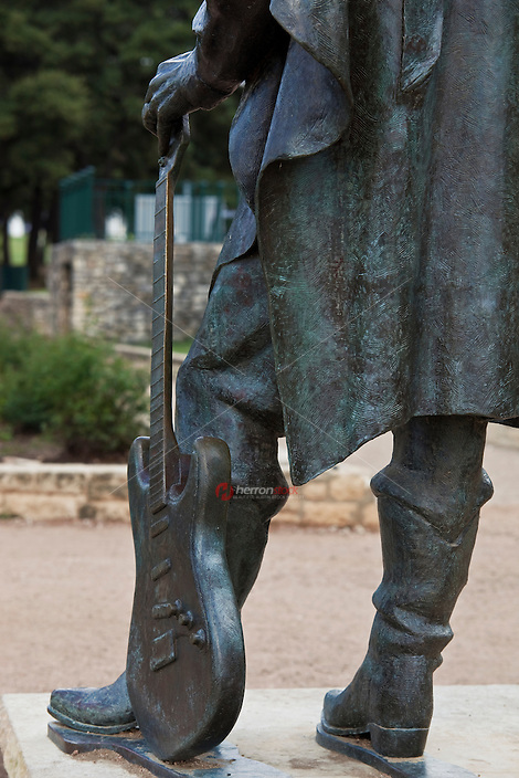 Iconic Bluesman Stevie Ray Vaughan Statue in Austin, Texas