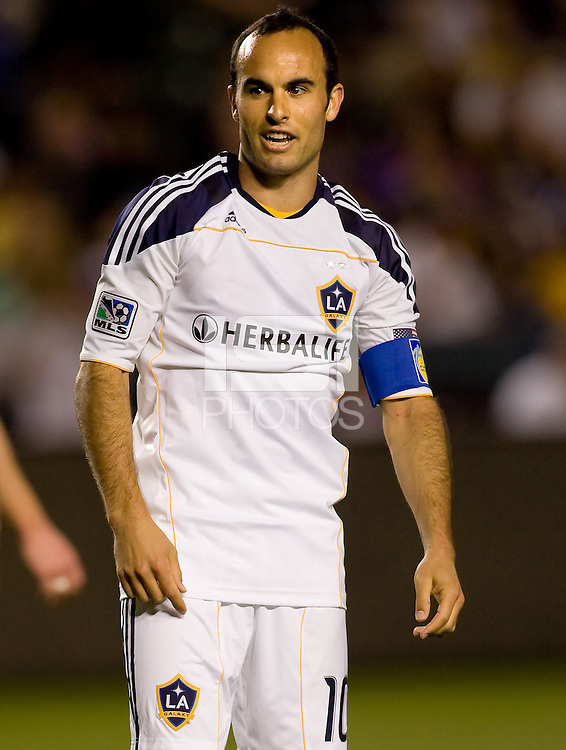 LA Galaxy forward Landon Donovan begins to celebrate his assist on teammates Edson Buddles goal. The LA Galaxy defeated the New England Revolution 1-0 at Home Depot Center stadium in Carson, California on Saturday evening March 27, 2010.  .
