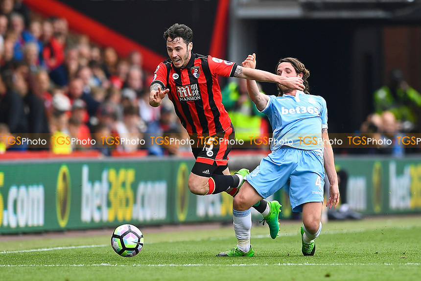 Joe Allen of Stoke City tackles Adam Smith of AFC Bournemouth during AFC Bournemouth vs Stoke City, Premier League Football at the Vitality Stadium on 6th May 2017