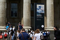 "Exterior of the The British Museum, London, UK, June 21, 2017. ""Hokusai: beyond the Great Wave"" was an exhibition of the works of the ukiyoe woodblock print artist Katsushika Hokusai (1760-1849), held at the British Museum in London from 25 May to 13 August 2017. It focused on works from the last 30 years of the artist's life."