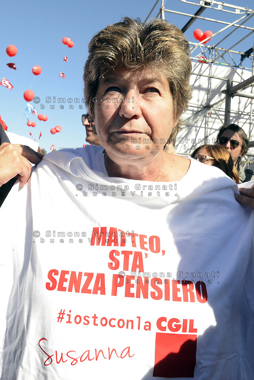 Roma, 25 Ottobre 2014<br /> Lavoro. La CGIL manifesta a Roma con due cortei nazionali fino a Piazza San Giovanni , contro il jobs act e la riforma dell'art.18 del governo Renzi.<br /> Nella foto Susanna Camusso in Piazza San Giovanni<br /> CGIL protest against the jobs act and the reform of article 18 of the government Renzi.<br /> <br /> Rome, October 25, 2014 <br /> Work. The national union CGIL manifested in Rome with two national marches to Piazza San Giovanni, against the jobs act and the reform of article 18 of the government Renzi.