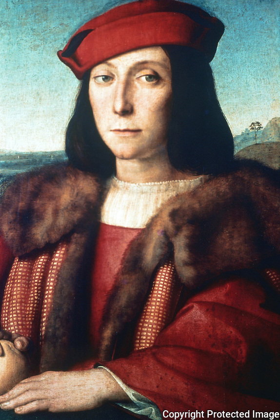Paintings:  Raffaello--Portrait of Francesco Maria Della Rovere. (Duke of Urbino)  Galleria Uffizi, Florence.  Reference only.