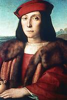 Paintings:  Raffaello--Portrait of Francesco Maria Della Rovere. (Duke of Urbino)  Galleria Uffizi, Florence.  Reference only.