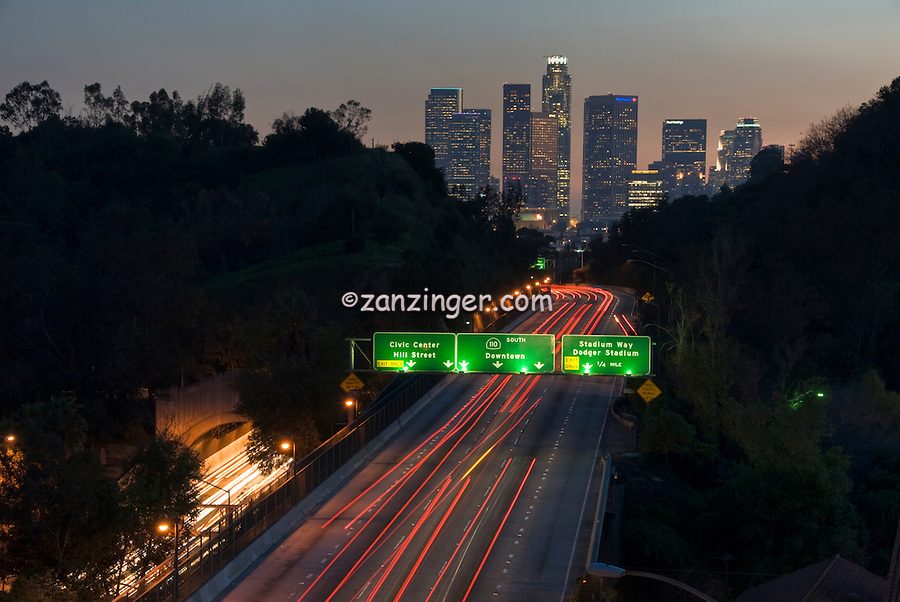 Los Angeles CA, Skyline, 110, Pasadena Freeway, Sunset, Dramatic streaking tail lights High dynamic range imaging (HDRI or HDR)