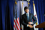 Illinois Governor Rod Blagojevich exits after telling the media that he will not resign and will fight federal corruption charges against him at a press conference at the Thompson Center in Chicago, Illinois on December 19, 2008.