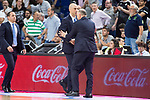 Real Madrid's coach Pablo Laso and Morabanc Andora's coach Joan Peñarroya during first match of playoff of La Liga Endesa 2016-2017 between Real Madrid and Morabanc Andorra at Wizink Center in Madrid,  May 24, 2017. Spain.<br /> (ALTERPHOTOS/BorjaB.Hojas)