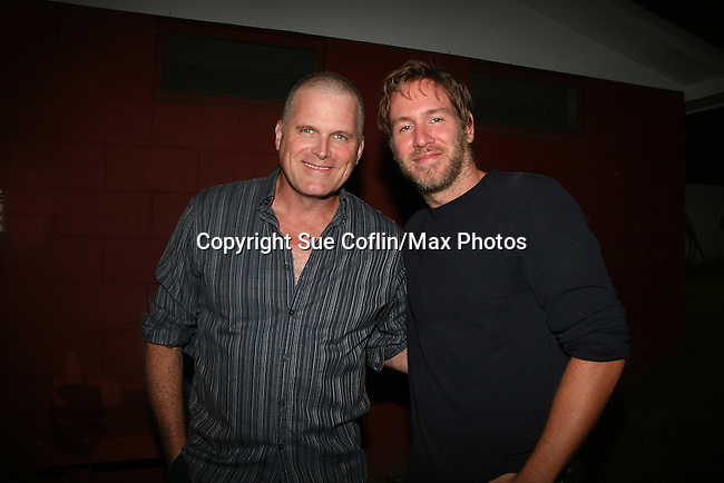 "Comedian Stephen Lynch poses with Guiding Light's Robert Newman - a Barn program alum in 1981 - joined in Seasons of Love with ""Something Was Missing"" (Annie) and ""Meditation"" (Shenandoah) at the Gala Benefit Concert on August 14, 2010 for the Barn Theatre School for Advanced Theatre Training in Augusta Michigan (Photos by Sue Coflin/Max Photos)"