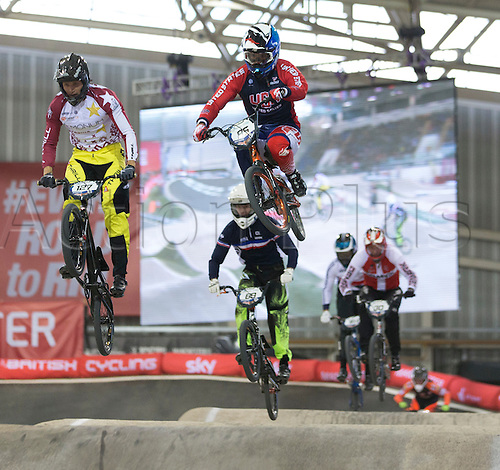 19.04.2015.  Manchester, England. BMX Supercross Day Two. Jared Garcia (USA) during the Elite Men 1/8 Finals (1st Round).