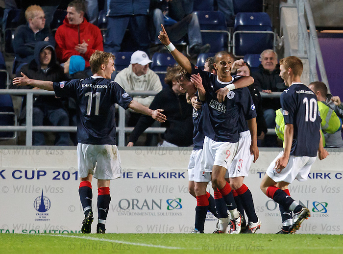 Farid El Allagui celebrates his second goal of the match for Falkirk