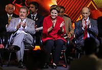 SAO PAULO, SP, 20 FEVEREIRO 2013 -  10 ANOS DO PARTIDO DOS TRABALHADORES GOVERNO FEDERAL NO PODER -  A presidente Dilma Rousseff durante a festa do Partido dos Trabalhadores (PT) para celebrar 33 anos do partido e dez anos no comando do Governo Federal, no Holiday Inn Parque Anhembi, na zona norte de São Paulo, nesta quarta-feira, 20. FOTO: WILLIAM VOLCOV / BRAZIL PHOTO PRESS