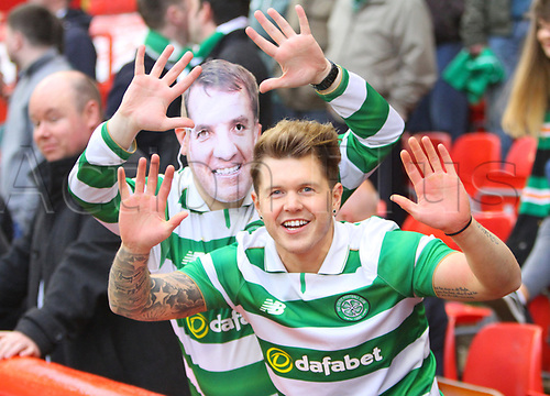 May 12th 2017, Pittodrie, Aberdeen, Scotland; SPL Premier league football Aberdeen versus Celtic;  Celtic fans in jubilant mood before the match