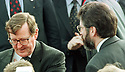 Archive Picture. The closest Gerry Adams got to David Trimble. Image was taken when Trimble had finished an interview and Gerry was up next.   Photo/Paul McErlane Photography