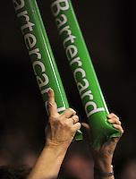 A fan bashes her thundersticks together. NBL Semifinal - Wellington Saints v Nelson Giants at TSB Bank Arena, Wellington, New Zealand on Friday, 15 July 2011. Photo: Dave Lintott / lintottphoto.co.nz