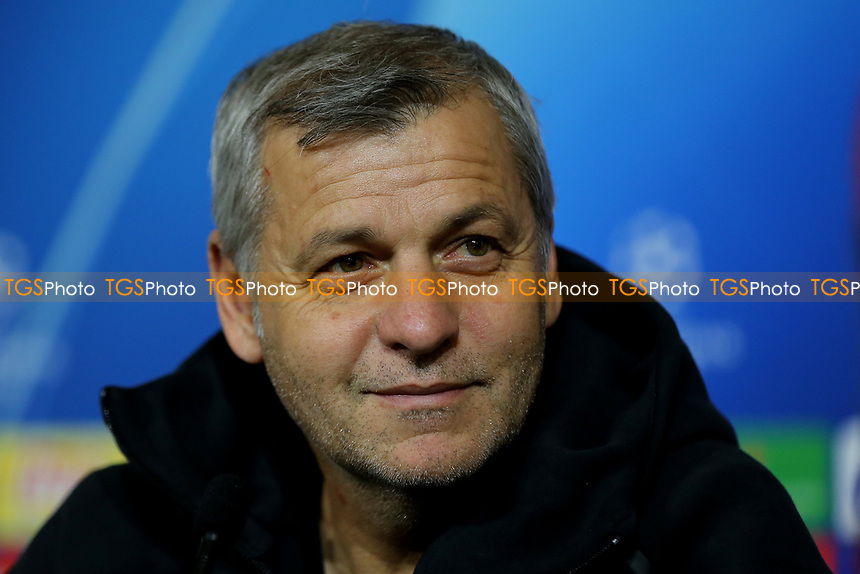 Olympique Lyonnais Manager, Bruno Genesio during a Manchester City Press Conference at the Groupama Stadium on 26th November 2018