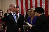 United States Vice President Joseph Biden, Jr. takes the oath of office, administered by Associate Supreme Court Justice Sonia Sotomayor in the residence of the Vice President at the United States Naval Observatory in Washington, D.C. on Sunday, January 20, 2013..Credit: Josh Haner / Pool via CNP