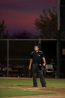 Home plate umpire Shin Koishizawa between innings of an Arizona League game between the AZL Diamondbacks and the AZL White Sox at Camelback Ranch on July 12, 2018 in Glendale, Arizona. The AZL Diamondbacks defeated the AZL White Sox 5-1. (Zachary Lucy/Four Seam Images)