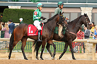"October 07, 2018 : #1 Chelsea Cloisters and jockey Jose Ortiz before the 1st running of The Indian Summer $200,000 ""Win and You're In Breeders' CupJuvenile Turf Sprint Division"" for trainer Mark Casse and owner John Oxley  at Keeneland Race Course on October 07, 2018 in Lexington, KY.  Candice Chavez/ESW/CSM"