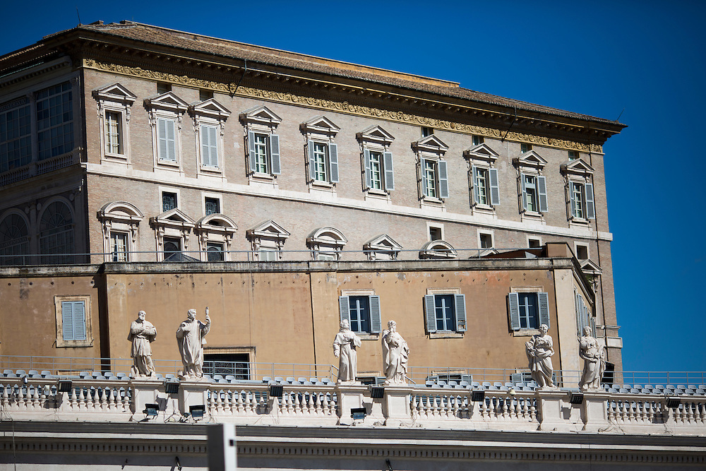 The Papal Apartment is seen from St. Peter's Square during a tour of the Vatican on Thursday, Sept. 24, 2015. (Photo by James Brosher)