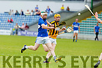Brendan O'Leary of Abbeydorney keeping an eye on St Brendans Padraig Kearney in R2 of the Senior Hurling Championship in Austin Stack Park on Sunday.