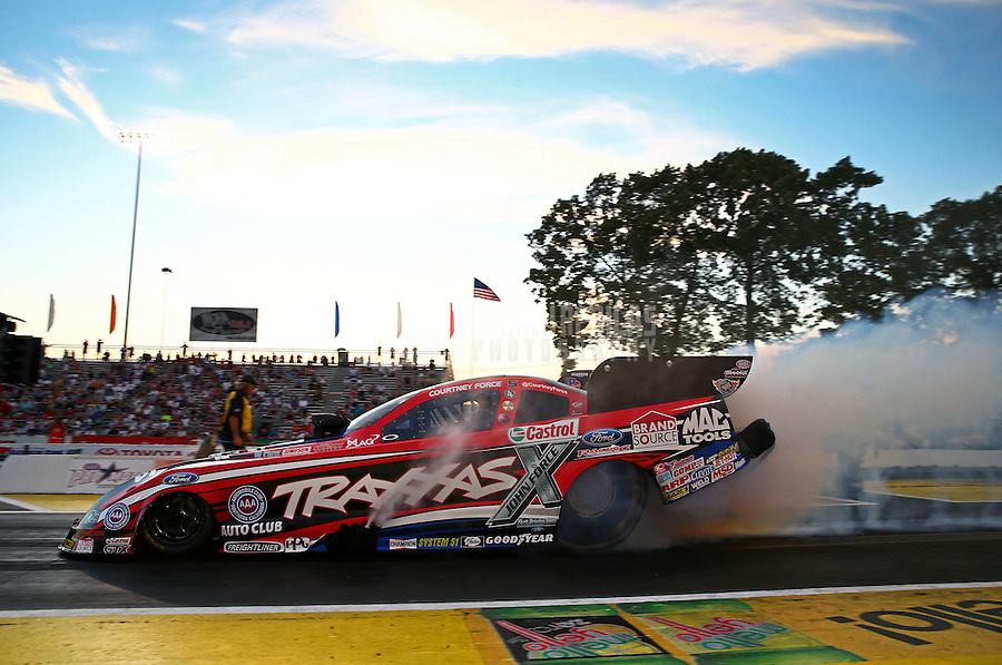 May 31, 2013; Englishtown, NJ, USA: NHRA funny car driver Courtney Force during qualifying for the Summer Nationals at Raceway Park. Mandatory Credit: Mark J. Rebilas-