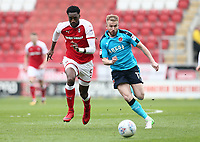 Paddy Madden of Fleetwood Town and Ashley Eastham of Fleetwood Town during the Sky Bet League 1 match between Rotherham United and Fleetwood Town at the New York Stadium, Rotherham, England on 7 April 2018. Photo by Leila Coker.