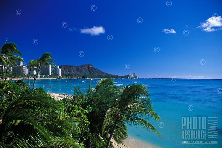 Diamond head at Waikiki beach on a clear blue sky day