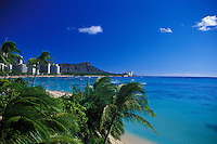 Diamond head at Waikiki beach on a clear blue sky day