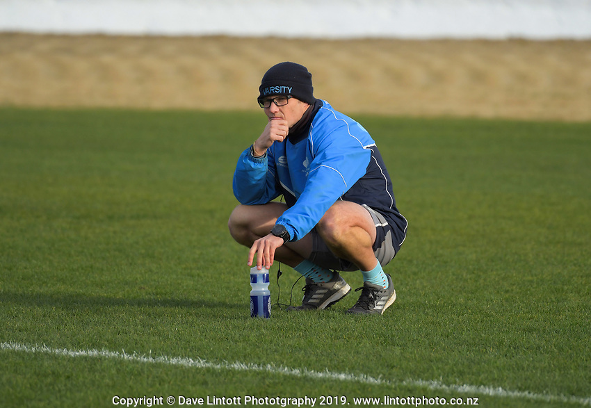 Varsity assistant coach Blair van Stipriaan during the 2019 Manawatu premier club rugby Hankins Shield final match between Varsity and Feilding Yellows at CET Arena in Palmerston North, New Zealand on Saturday, 13 July 2019. Photo: Dave Lintott / lintottphoto.co.nz
