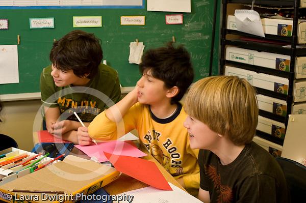 Public Middle School Grade 7 foreign language Italian class boys in class vertical