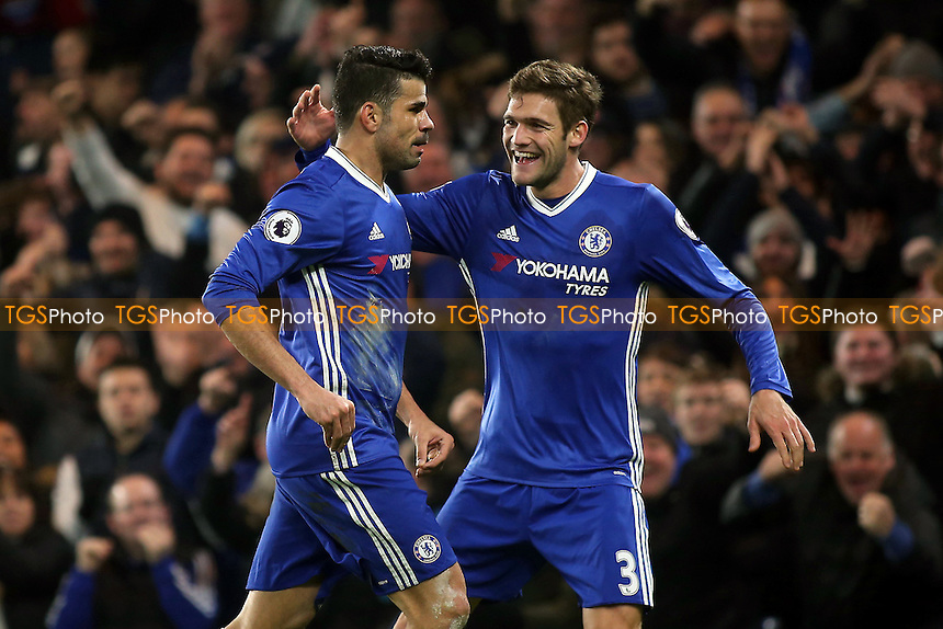 Marcos Alonso congratulates Diego Costa after scoring Chelsea's opening goal during Chelsea vs Hull City, Premier League Football at Stamford Bridge on 22nd January 2017