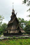 Fantoft Church, a reconstructed stave church in Fana area, city of Bergen, Norway