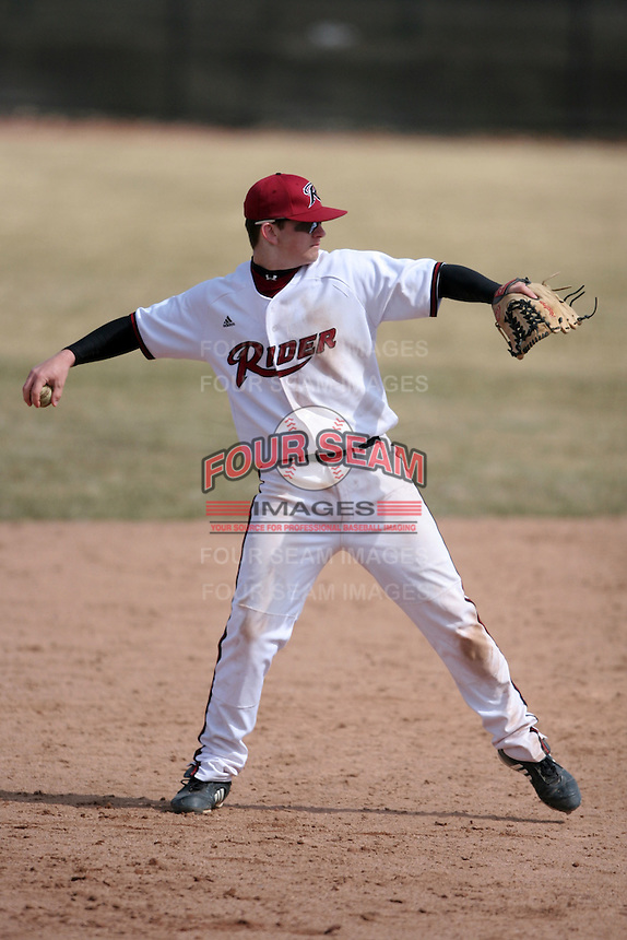 March 22nd 2009:  Shortstop John Ralston (27) of the Rider University Broncs during a game at Sal Maglie Stadium in Niagara Falls, NY.  Photo by:  Mike Janes/Four Seam Images