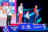 KAWECKI Radoslaw Poland POL  Gold Medal<br /> DIENER Christian Germany GER Silver Medal<br /> GREENBANK Luke Great Britain GBR Bronze Medal<br /> 200 backstroke men Final<br /> Glasgow 04/12/2019<br /> XX LEN European Short Course Swimming Championships 2019<br /> Tollcross International Swimming Centre<br /> Photo  Giorgio Scala / Deepbluemedia / Insidefoto