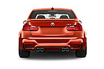 Straight rear view of a 2015 BMW M3 4 Door Sedan Rear View  stock images