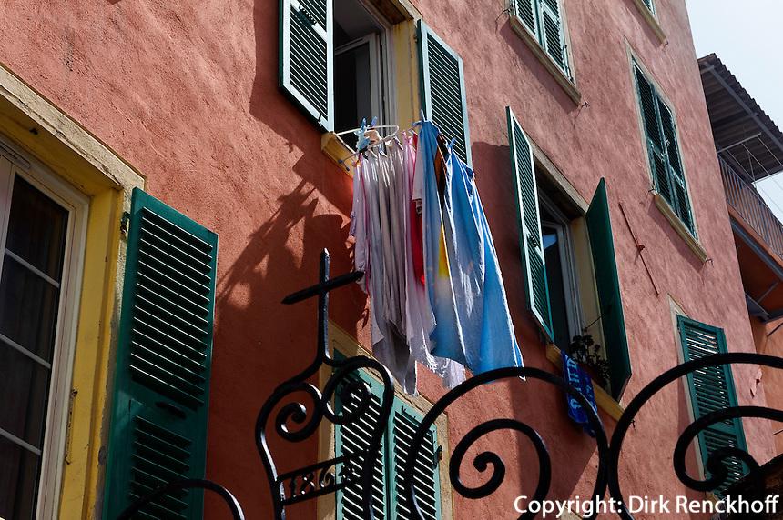 Wohnhäuser in der Altstadt von Bastia, Korsika, Frankreich