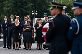Members of the McCain family watch joint service members of a military casket team carry the casket of Senator John McCain from the US Capitol to a motorcade that will ferry him to a funeral service at the National Cathedral in Washington, DC, USA, 01 September 2018. McCain died 25 August, 2018 from brain cancer at his ranch in Sedona, Arizona, USA. He was a veteran of the Vietnam War, served two terms in the US House of Representatives, and was elected to five terms in the US Senate. McCain also ran for president twice, and was the Republican nominee in 2008.<br /> Credit: Jim LoScalzo / Pool via CNP