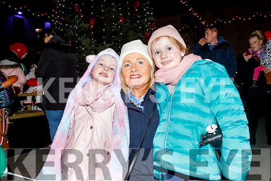 Aisling, Emma and Liz Lawlor from Banna, Ardfert at the turning on of the Christmas Tree lights on Saturday.