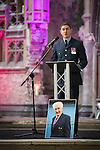 "© Joel Goodman - 07973 332324 . 14/10/2013 . Gorton Monastery , Manchester , UK . Friend , Flight Lieutenant Joe Marlowe , speaks . The Humanist funeral of photographer Harry Goodwin , attended by footballers and other celebrities and featuring music by artists he had photographed including ""He Ain't Heavy, He's My Brother"" by the Hollies and "" Happiness "" by Ken Dodd .  Photo credit : Joel Goodman"