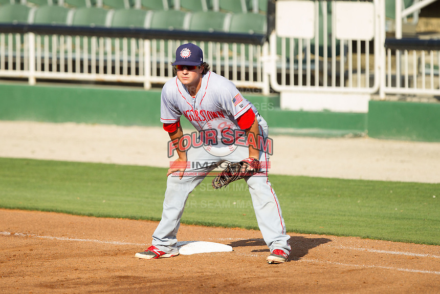 Hagerstown Suns first baseman Jimmy Yezzo (8) on defense against the Kannapolis Intimidators at CMC-Northeast Stadium on June 1, 2014 in Kannapolis, North Carolina.  The Suns defeated the Intimidators 11-5 in game two of a double-header.  (Brian Westerholt/Four Seam Images)