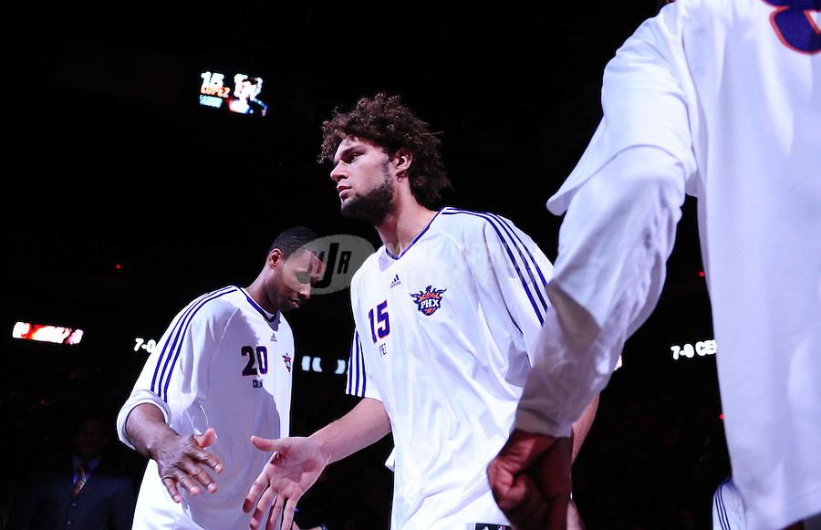 Jan. 22, 2010; Phoenix, AZ, USA; Phoenix Suns center (15) Robin Lopez against Chicago Bulls at the US Airways Center. Mandatory Credit: Mark J. Rebilas-