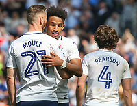 Preston North End's Louis Moult celebrates scoring his side's second goal with teammate Callum Robinson<br /> <br /> Photographer Alex Dodd/CameraSport<br /> <br /> The EFL Sky Bet Championship - Preston North End v Burton Albion - Sunday 6th May 2018 - Deepdale Stadium - Preston<br /> <br /> World Copyright &copy; 2018 CameraSport. All rights reserved. 43 Linden Ave. Countesthorpe. Leicester. England. LE8 5PG - Tel: +44 (0) 116 277 4147 - admin@camerasport.com - www.camerasport.com