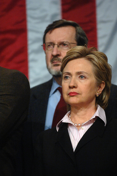 "01/18/06.DEMOCRAT RALLY TO ""RESTORE HONESTY, INTEGRITY AND OPENNESS TO GOVERNMENT""--Sen. Hillary Rodham Clinton, D-N.Y., with other House and Senate Democrats at a rally at the Library of Congress decrying the ""corrupt"" Republican Congressional leadership. Behind her is House Appropriations ranking Democrat David R. Obey, D-Wis..CONGRESSIONAL QUARTERLY PHOTO BY SCOTT J. FERRELL"