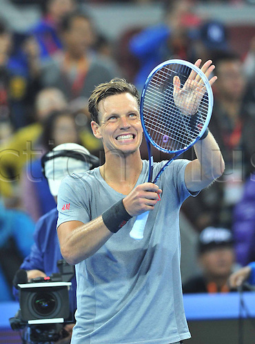 04.10.2014.Beijing, China.  Tomas Berdych of Czech Republic salutes the spectators after winning the mens singles semifinal match against Martin Klizan of Slovakia at the China Open tennis tournament in Beijing, China, Oct. 4, 2014. Tomas Berdych won 2-0.