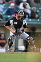 Louisville Bats catcher Devin Mesoraco #36 during a game against the Rochester Red Wings at Frontier Field on May 9, 2011 in Rochester, New York.  Photo By Mike Janes/Four Seam Images