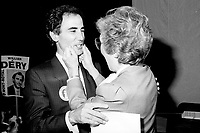 "Montreal (QC) Canada- -July 31 1984  File Photo -   William Dery (L) and<br /> <br /> Sheila Finestone (R) choosen as liberal candiate for the  riding of Mount Royal over William Dery (L)... In 1984 she was elected as a Liberal Member of Parliament for the Montreal riding of Mount Royal. She was re-elected in the 1988, 1993 and 1997 elections.<br /> <br /> Finestone was sworn to the Privy Council in November 1993 as Secretary of State (Multiculturalism and Status of Women). Finestone was appointed to the Senate of Canada in August 1999. She completed her term in the Senate in 2002 when she reached the mandatory retirement age of 75.<br /> <br /> She was a member of the board of the Canadian Landmine Foundation.<br /> <br /> In 2008, Finestone was the recipient of the Distinguished Service Award of the Canadian Association of Former Parliamentarians,[2] ""presented annually to a former parliamentarian who has made an outstanding contribution to the country and its democratic institutions.""[3] The award was accepted on her behalf by her son Peter, due to Finestone's inability to attend, following health challenges.[4]"