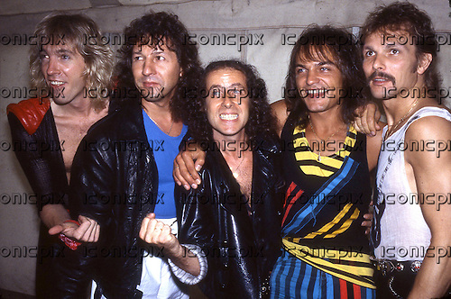 SCORPIONS - L-R: Francis Buchholz, Herman Rarebell, Klaus Meine, Matthias Jabs, Rudolf Schenker - photocall at Knebworth UK - 22 Jun 1985.  Photo credit: George Bodnar Archive/IconicPix